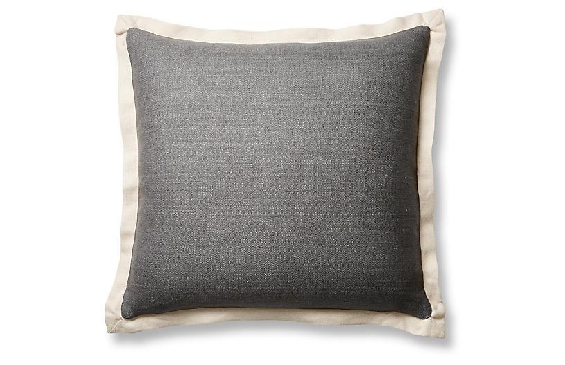 Gina 20x20 Pillow, Graphite/Sand Linen