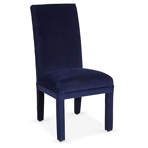 Monroe Side Chair, Lapis Velvet