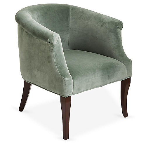 Selby Club Chair, Sage Velvet