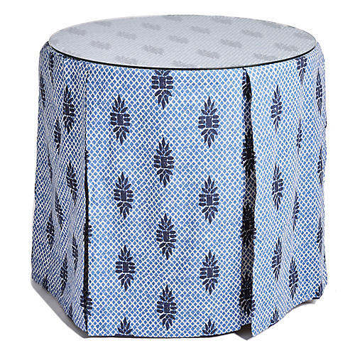 Eden Round Skirted Table, Blue Medallion