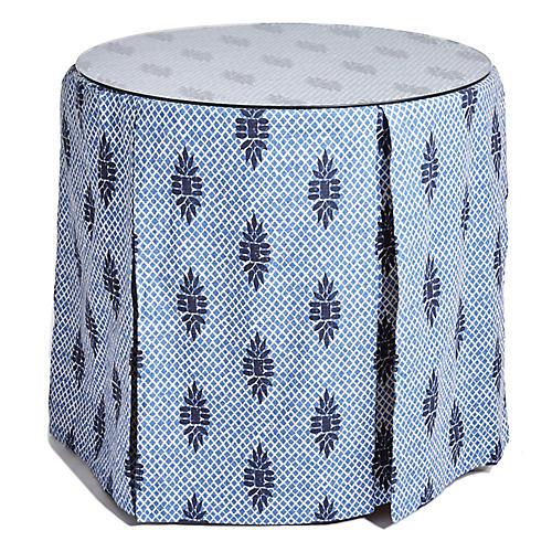 Eden Round Skirted Table, Blue Medallion