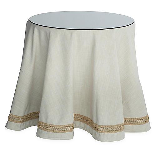 Eden Round Skirted Table, Cream