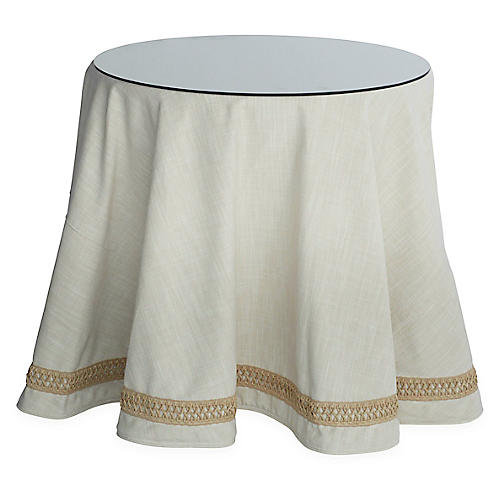 Eden Round Skirted Table, Cream/Tan