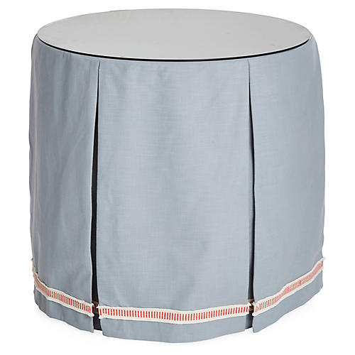 Eden Round Skirted Table, Blue/Coral
