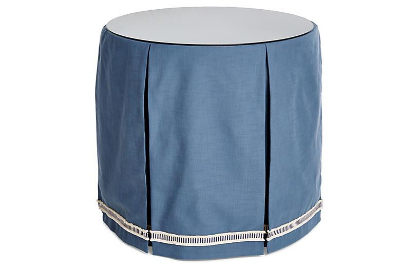 Eden Round Skirted Table, Indigo