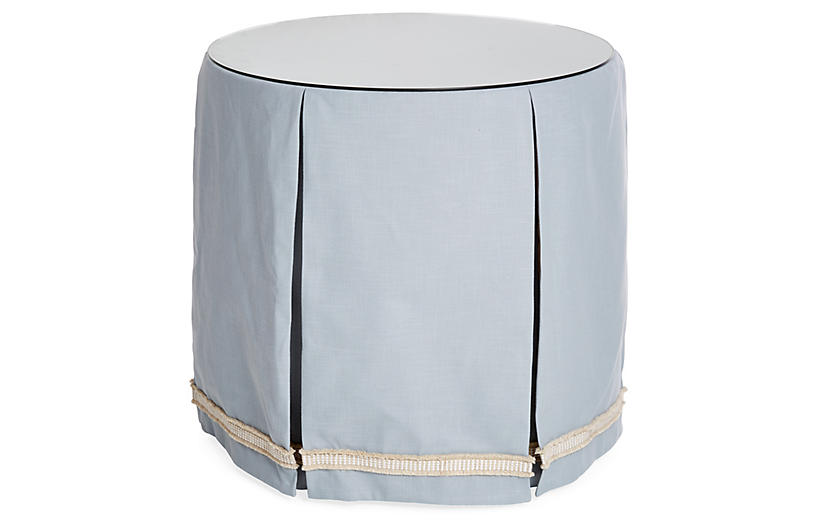 Eden Round Skirted Table, Blue/Ivory