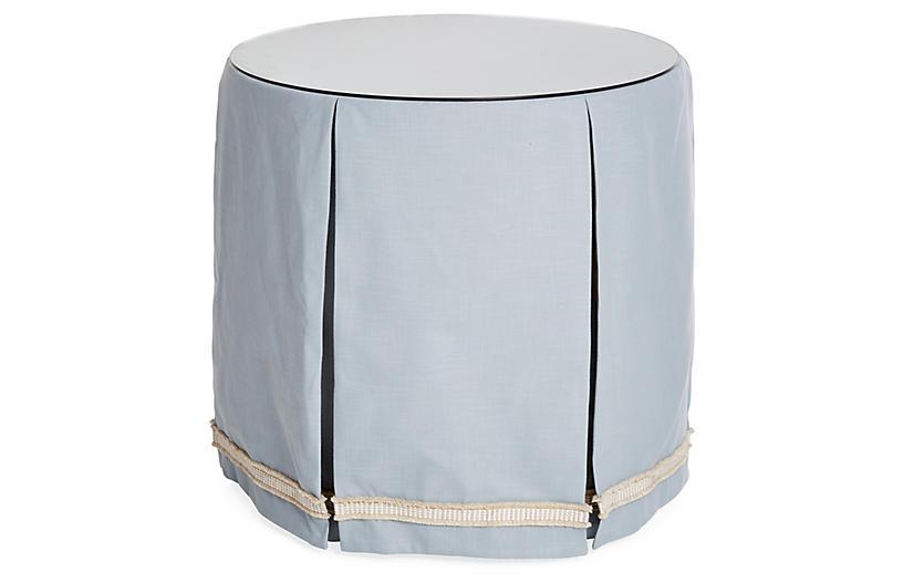 Eden Round Skirted Table, Blue/Ivory