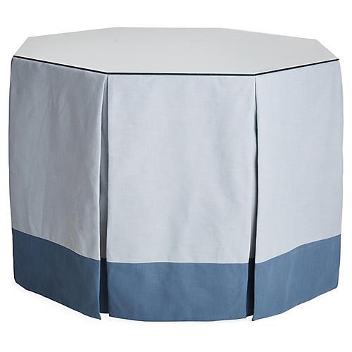 Eden Octagonal Skirted Table, Blue/Indigo