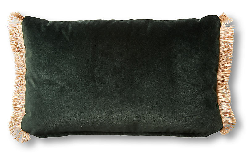 One Kings Lane Celeste 12x20 Lumbar Pillow Forest Velvet One Kings Lane