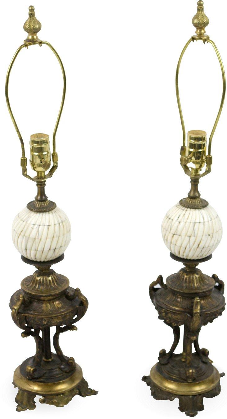 Vintage Bone & Brass Lamps, Pair
