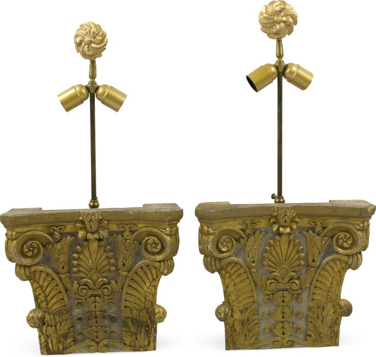 19th-C. Fragment Lamps, Pair