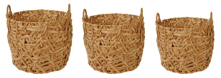 S/3 Woven Planters, Natural