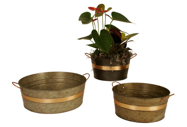 S/3 Assorted Metal Bowls