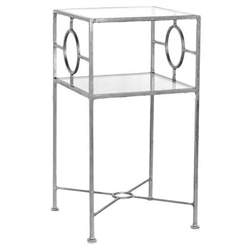 Ellis Glass-Top Side Table, Silver