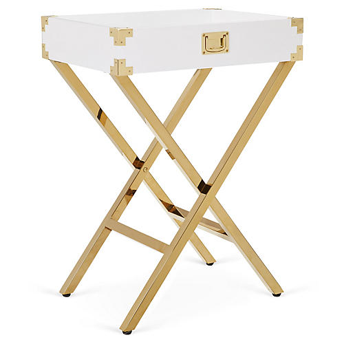 Hayden Campaign-Style Tray Table, White