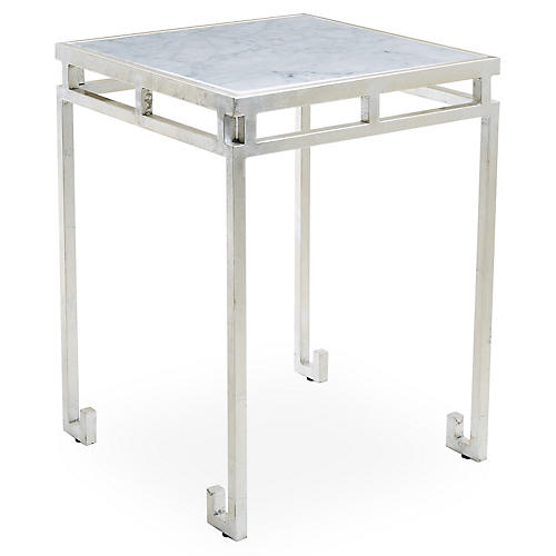 Rossmoor Marble Side Table, Silver