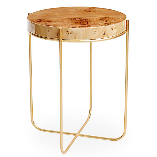 Dawson Side Table, Gold/Burl