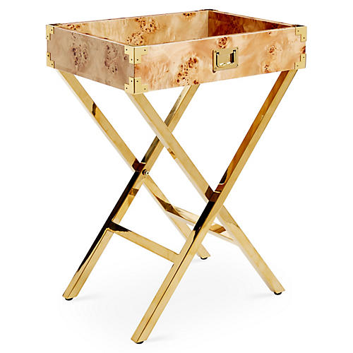 Hayden Campaign-Style Tray Table, Gold/Burl