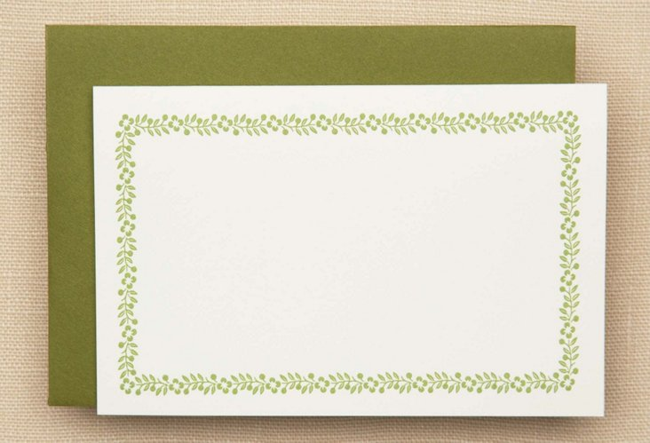 S/25 Vera Wang Folded Note Cards, Vine