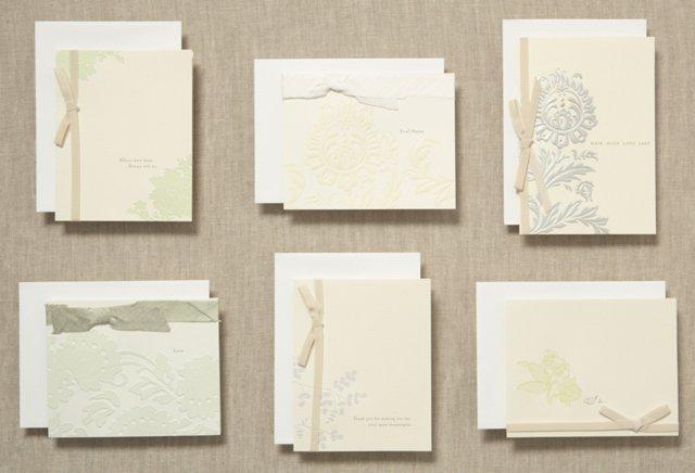 S/6 Vera Wang Spring Wedding Note Cards