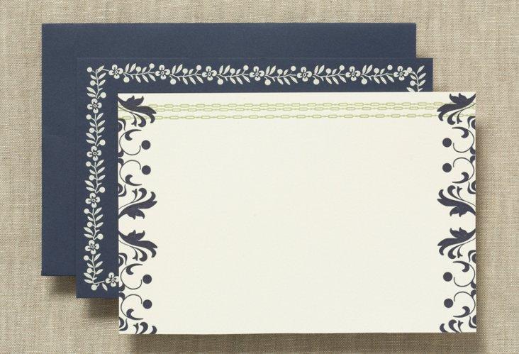 S/50 Vera Wang Note Cards, Navy