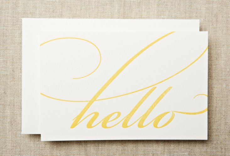 S/20 Letterpress Hello Top-Fold Notes
