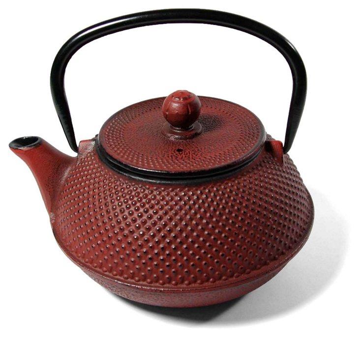 Red Hobnail Cast Iron Teapot, 20 oz.