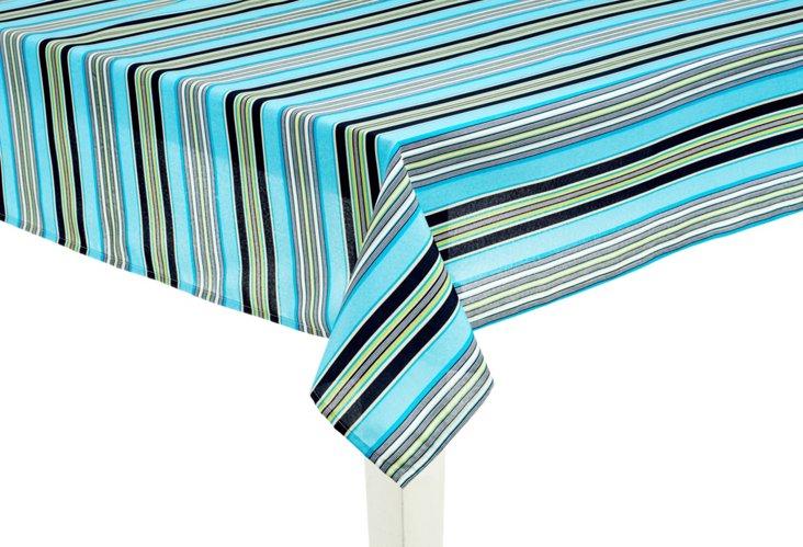 "Getaway Stripe Tablecloth, 70"" Round"