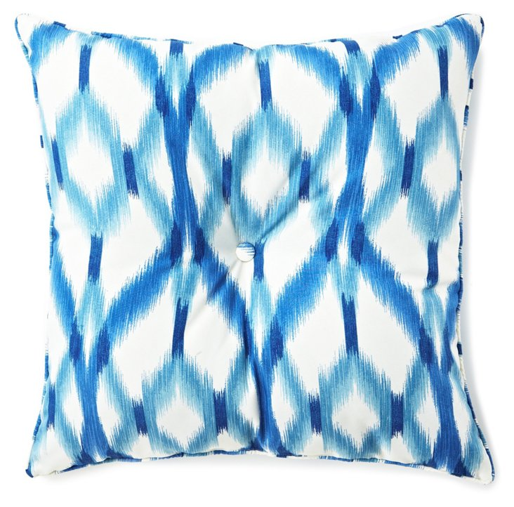 Izmir Ikat 25x25 Outdoor Pillow, Blue