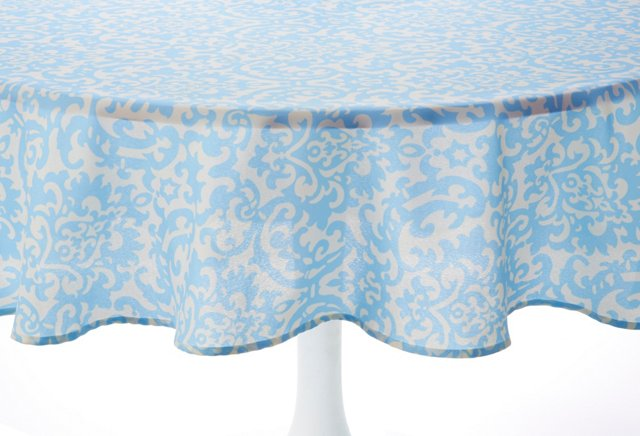 Light Blue Damask Tablecloth