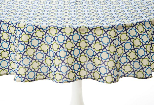 """Tablecloth 70"""" Round, Geo Navy/Lime"""