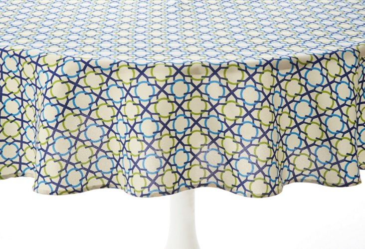 Tablecloth 60x84, Geo Navy/Lime
