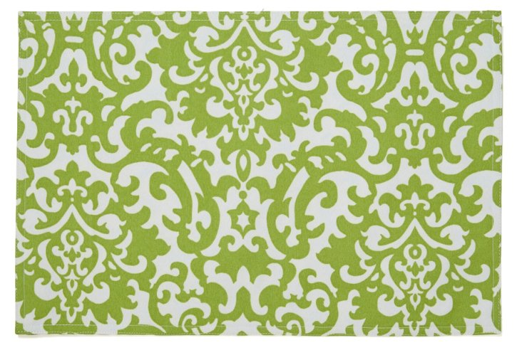 S/4 Place Mats, Lime Damask