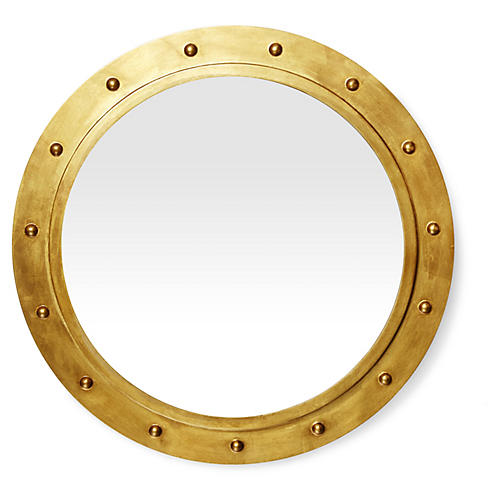 Porthole Mirror, Gold