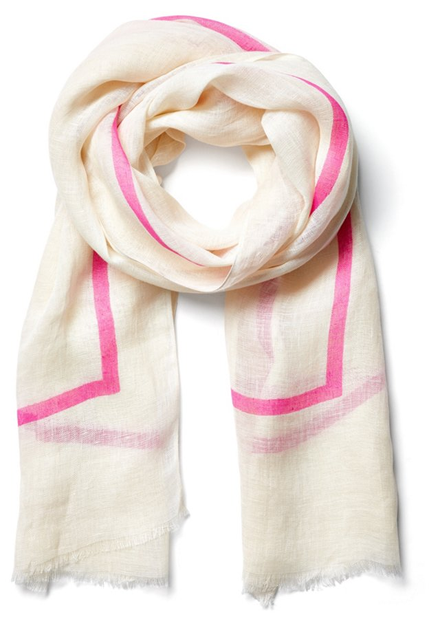 Neon Line Scarf, Pink/Ivory