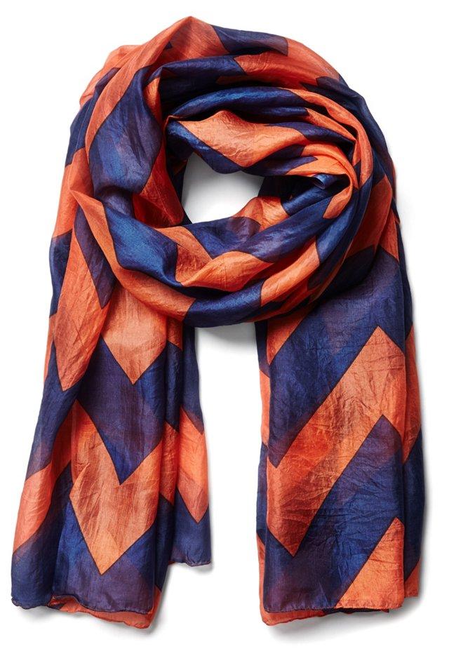 Silk Scarf, Orange/Blue
