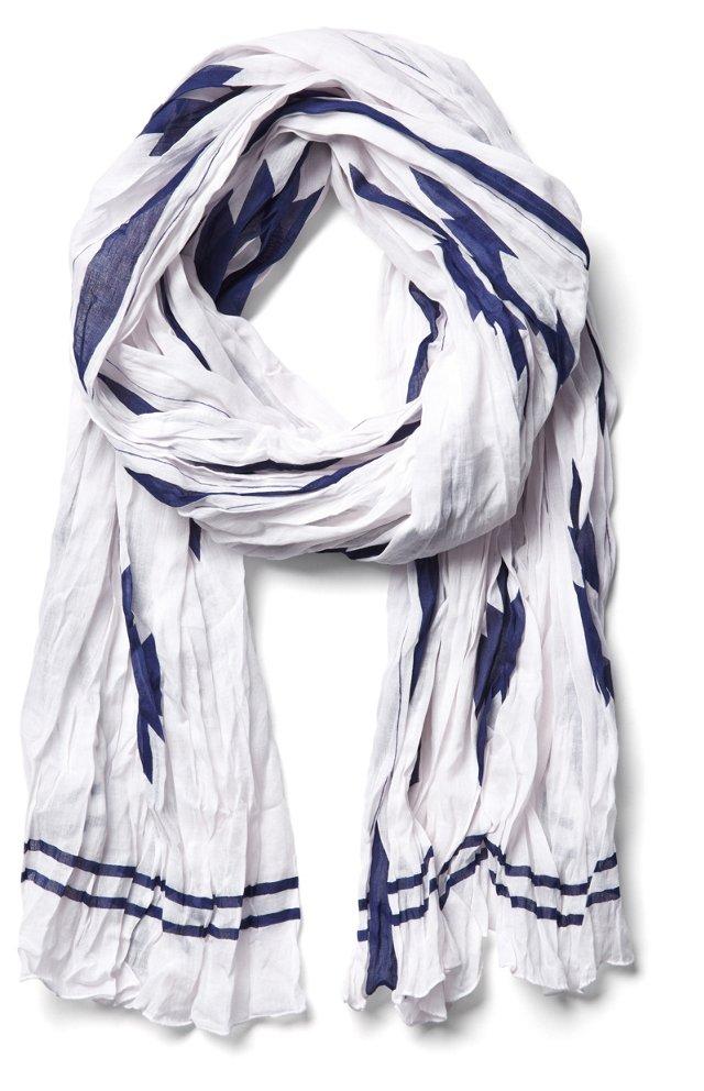 Ikat Print Scarf, White/Blue