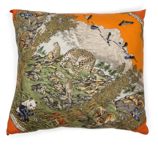 Hermes Cashmere & Silk Scarf Pillow