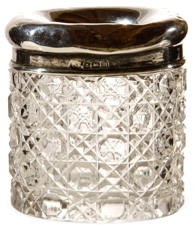 Sterling Silver/Glass Vanity Holder