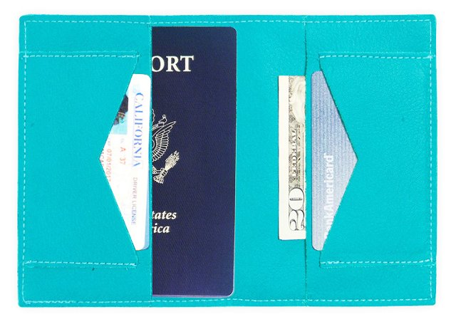Leather Passport Wallet, Turquoise