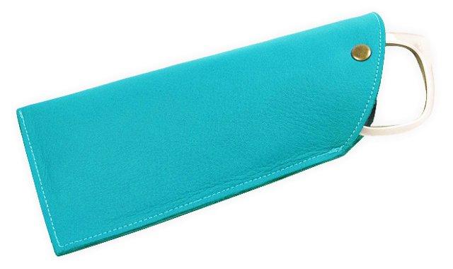 Leather Sunglasses Sleeve, Turquoise