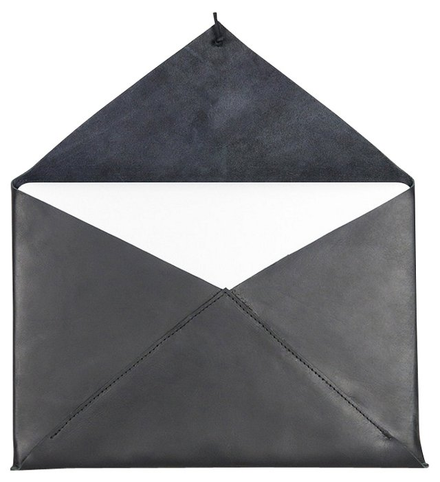 Newman Leather Laptop Case, Black