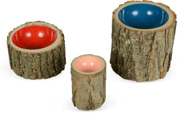 Log Bowls, Set of 3, I