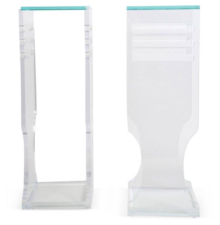 Acrylic Pedestals w/ Glass Top, Pair
