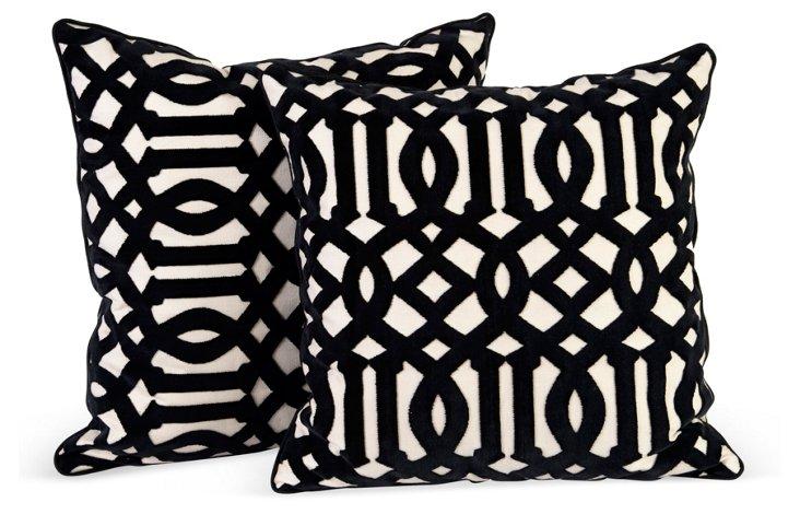 Black & Cream Pillows, Set of 2