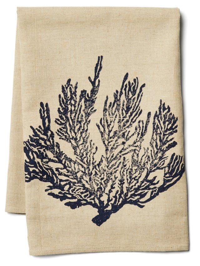 Sea Fan Tea Towel, Navy