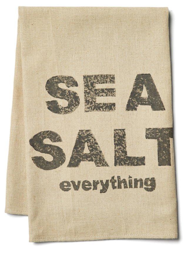 """""""Sea Salt"""" Tea Towel, Gray"""