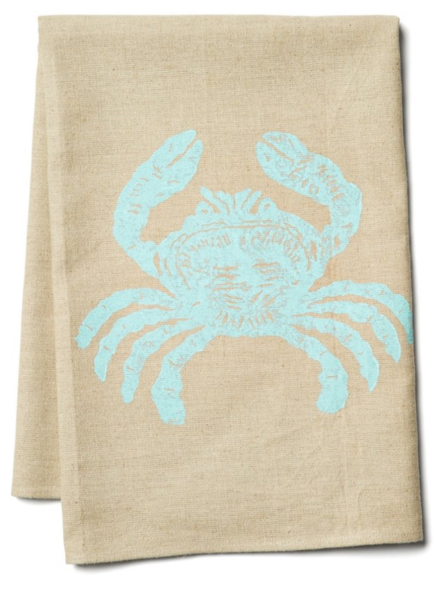 Crab Tea Towel, Aqua