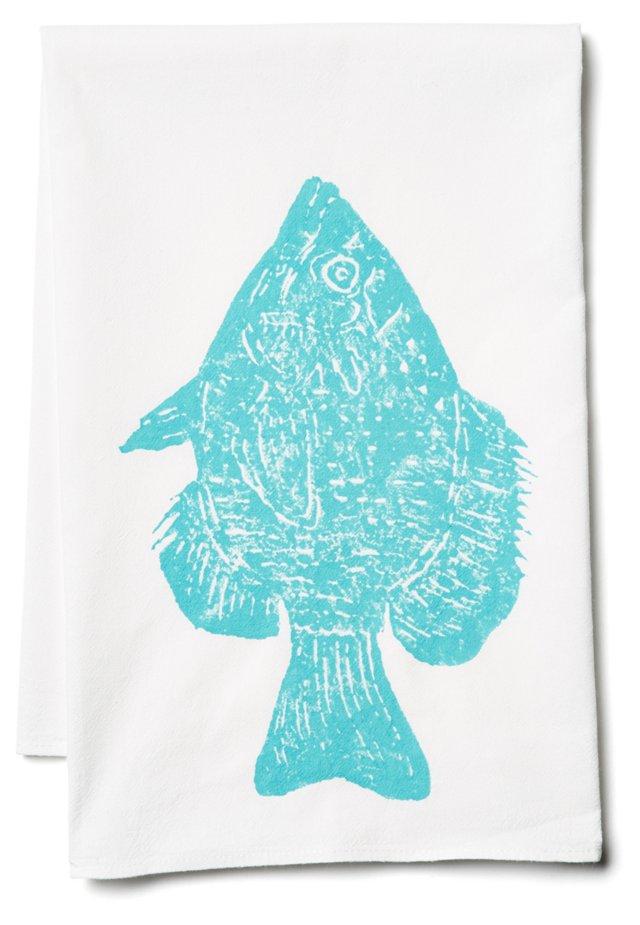 S/2 Fish Tea Towels, Blue
