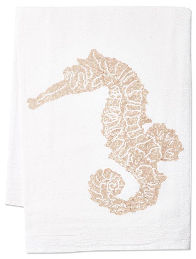 S/2 Seahorse Tea Towels, Sand